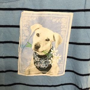 Justice Shirts & Tops - Blue striped shirt with dog pocket
